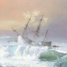 Cuba, Stormy Sea, Landscape Paintings, Acrylic Paintings, Tall Ships, Beautiful Landscapes, Marines, Arctic, Sailing Ships