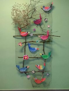 - Other - sommer basteln kinder -Vogel & s - Ayşe Döğer - depins. - Other - sommer basteln kinder - Barevní ptáčci z plsti / Zboží prodejce KashKi original - HomeDecor Bird Crafts, Easter Crafts, Diy And Crafts, Crafts For Kids, Arts And Crafts, Art N Craft, Craft Work, Diy Cadeau Noel, Collaborative Art