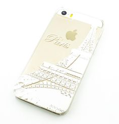 Clear Plastic Case Cover for iPhone 5 5S - (Henna) Paris Eiffel Tower europe france