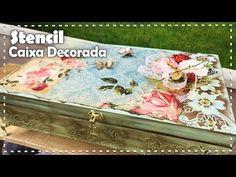 (11) CAIXA DECORADA COM STENCIL com Tati Rocha - Programa Arte Brasil - 04/10/2017 - YouTube Diy Cardboard, Bottle Crafts, Stencils, Decorative Boxes, Scrap, Diy Crafts, Youtube, Chicano, Tie