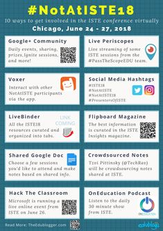 10 Ways To Participate in NotAtISTE18 | Edublogs | PDF overview of getting involved in the world's biggest edtech conference virtually