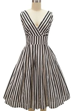 pinup style surplice sun dress - black & white stripe - standard and plus sizes