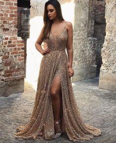 Deep V Neck Prom Dresses Sequin Side Slit Evening Dresses 0196 Sequin Prom Dresses, Cute Prom Dresses, V Neck Prom Dresses, Gala Dresses, Beautiful Prom Dresses, Sequin Dress, Evening Dresses, Formal Dresses, Straps Prom Dresses