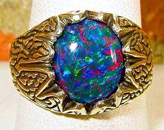 Mens ring. Vivid Fire Opal ring. Genuine Australian Black Opal.12x10mm Gemstone.Sterling Silver designer setting. SIZE 10
