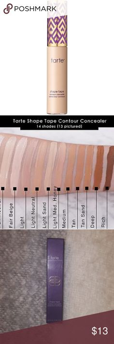 Tarte shape tape concealer (light sand) Sculpt and highlight as you mask imperfections with this 2-in-1 full coverage concealer. The hydrating, longwearing formula delivers natural, radiant coverage across all skin types so you can instantly brighten and cover acne, dark circles and redness while softening the look of pores and fine lines. Wear it 1-2 shades lighter or darker, and it works as a creamy highlighter or contouring stick.ONLY SWATCHED FIRM PRICE  COLOR:LIGHT SAND ( LIGHT SKIN W…