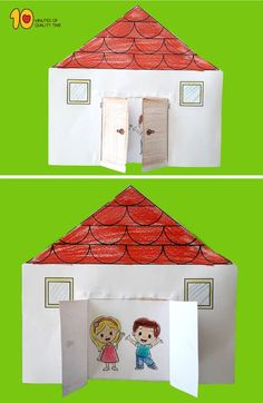 Paper House with Opening Doors para niños Easy Arts And Crafts, Paper Crafts For Kids, Crafts To Do, Diy For Kids, Kindergarten Art, Preschool Activities, Unicorn Diy, Door Crafts, Science Experiments Kids
