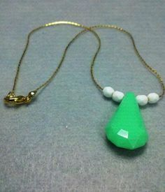 Gold White and MintyGreen 'Drop' Charm Necklace by OneSEC on Etsy, $9.50