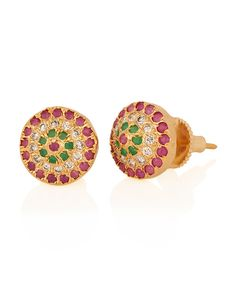 Tri-Coloured Beauty, Studs Earrings with Three Coloured Stone