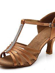 Customizable Women's Dance Shoes Satin Latin Sandals Customized Heel Indoor