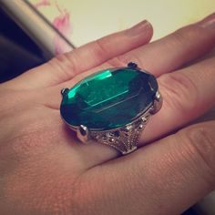 Green statement ring Adjustable green statement ring with silver details Jewelry Rings