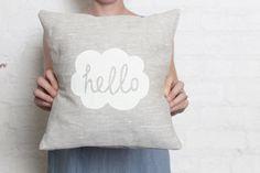 Hand Printed Linen Cushion Cover - Hello. $36.00, via Etsy.