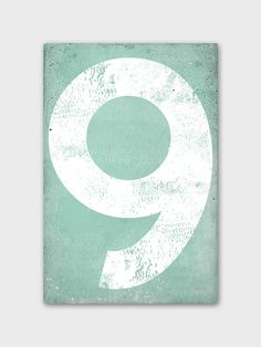 Mint #9 Vintage-Style Gas Station Numeral Canvas by NativeVermont on Etsy
