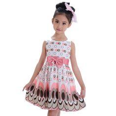 Girl Dress,Haoricu Fall New Kids Baby Girls Bow Belt Sleeveless Bubble Peacock Party Dress (L/120, Pink)