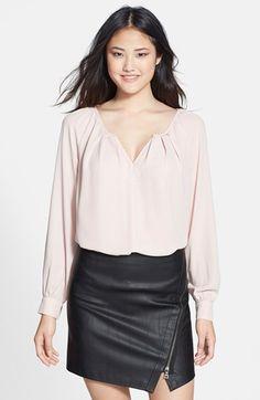 Pink blouse.