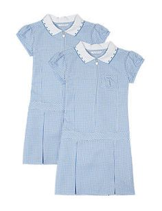 Blue 2 Pack Girls' Crease Resistant Summer Gingham Checked Dress