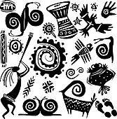 Clipart - satz, von, stammes-, primitiv, afrikanisch, muster k13342385 - Suche Clip Art, Illustration Wandbilder, Zeichnungen und Vector EPS grafische Bilder - k13342385.eps