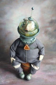Купить Ква-ква-навт - васильковый, лягушка, лягушка игрушка, водолаз, улитка, хлопок