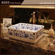 [ $29 OFF ] Porcelain Cloakroom Rectangular Wash Basin Lavabo Counter Top Sink Vessel Bathroom Hand Paint Art Wash Sink Jy-Xptp276