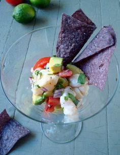 Fresh Swai Ceviche with Blue Corn Chips... Seafood is one of my favorite things to eat. It's a mini-thrill for me to find a new variety for kitchen experim