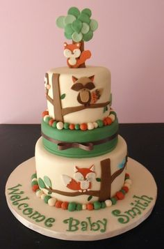 Topper from Gum Paste. Cakes 5, 6.5, 8. Made to compliment the Carters Tree Tops Nursery Bedding Set. TFL!