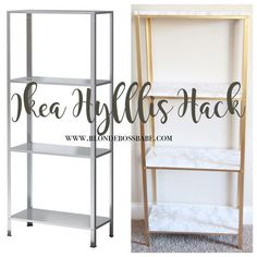 The most amazing Ikea Hyllis transformation to marble and gold using only spray paint and sticker!