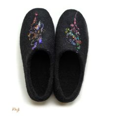 Our felted shoes are handcrafted with care from all natural wool, warm water and soap. They are perfect for wearing around the house or anywhere indoors, and are so soft and light that they feel like a second skin. The natural wool fibers allows your feet to breathe and are a comfort to walk on. Our shoes are available in any standard size and can even be custom designed to fit your needs. All our slippers are made from 100% wool and are 100% handmade.