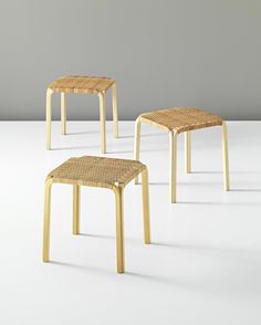 Alvar Aalto; #Y61 Birch Plywood and Cane Stools for Artek, c1946.