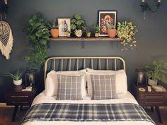 Shelving Over Bed, Shelf Over Bed, Bed Shelves, Bed Wall, Bedroom Wall, Bedroom Decor, Floating Shelves Bedroom, Above Bed Decor, Bedroom Green