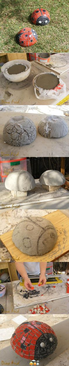 How to make Concrete ladybugs for the garden