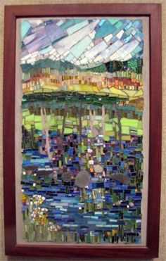 Maine,  A loosely interpreted Maine landscape.  vitreous glass, unglazed ceramic, stained glass, grout, rocks, smalti.  Cynthia Fisher