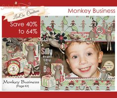 """""""Ten little monkeys jumpin' on the bed, one fell off and broke his head. Mama called the doctor, the doctor said: NO MORE MONKEYS JUMPIN' ON THE BED!""""  Save Big on Monkey Business by #SnickerdoodleDesigns and #LouCeeCreations.  Don't be fooled by the monkeys, this is a beautiful kit for adult pages too.  #digitalscrapbooking #thestudio"""