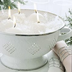 Kitchen Brilliance  Line a colander with clear cellophane and nestle snowball-shape candles and glass snowflake ornaments for a frosty display.