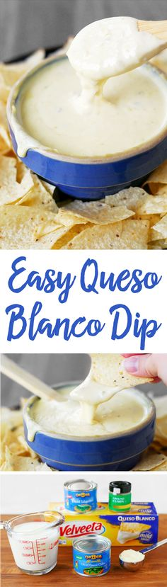 This Easy Queso Blanco Recipe is a quick way to make white cheese dip using Velveeta and peppers. Serve with chips as a taco side dish or a party appetizer!