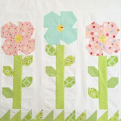"""tiedwitharibbon Flowers are blooming. Cute flowers from """"Sweet Orchard"""" @downgrapevinelane upcoming range for @rileyblakedesigns are perfect for my Amity's Garden Quilt pattern that was featured in February's @homespunmagazine."""