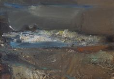 JOAN EARDLEY  -  Nets, Waves and Rocks, Oil and collage on hardboard, 27 x 36 ins.