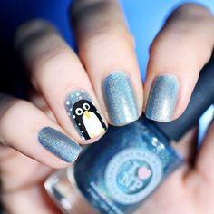 Manicura navideña en azul #nails #nailart #manicura #Navidad