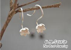 Handmade Silver Magnolia Flower Long Stud Earring, Teenage, Valentine, Bridemaid, Bridal, Wedding, Wholesale Available