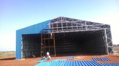 23 meter span steel frame shed. first of india