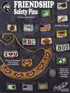 DESIGN ORIGINALS-Friendship Safety Pins. Fashion colorful pictures from seed beads and small safety pins!  Darling little projec... (see details) $3.99