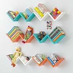 Our Zigzag Wall Shelves are a great way to store items, . - Shelf for child room - Shelves in Bedroom Creative Bookshelves, Decorating Bookshelves, Bookshelf Design, Bookshelves For Kids, Kids Wall Shelves, Girl Bedroom Designs, Room Ideas Bedroom, Kids Bedroom, Bedroom Decor