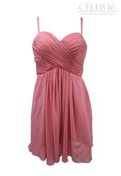 Roseglow Crinkle Chiffon Spaghetti Strap Bridesmaid Dress G212
