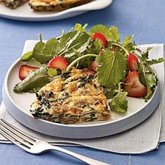 Mushroom and spinach Frittata with Smoked Gouda. 4 servings, 202 calories each