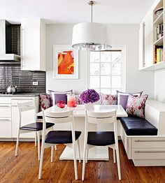 Kitchen banquette + purple accents