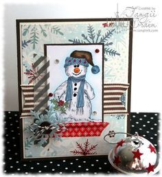 The Inking Spot of Crain Creations by Tangii Crain. Snowman Buddy by Just Inklined stamps. #cards, #stamping, #Christmas, #Winter, #copics