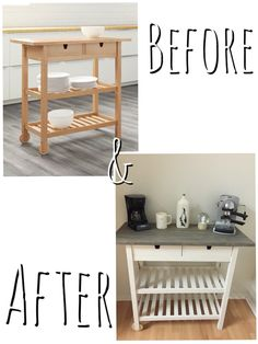 DIY coffee bar using IKEA's Forhoja cart. Purchased used kitchen cart for $50 (or buy new for $109 http://m.ikea.com/us/en/catalog/products/art/80035920/) Sanded the top and stained first coat using Rust Oleum's weathered gray stain. After 1st coat, to give a distressed look, I took a hammer and randomly banged the top. Finished it by giving second coat of same stain. Painted the bottom half with regular white paint to complete look! Super easy hack and fits perfectly in my kitchen