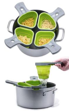 Genius. Single portion pasta baskets. Great for portion control...Different pasta for each person! :)