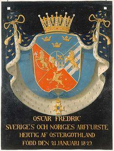 Serafimersköld för konung Oskar II av Sverige som hertig av Östergötland 1829-1859, urspr. upphängd i Riddarholmskyrkan, Stockholm.