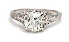 Edwardian Cushion Cut Diamond Engagement Ring