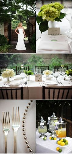 green and white wedding + touches of stripes—snappy, elegant