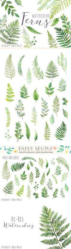 Watercolor Fern Leaf Pack. Wedding Card Templates. $10.00